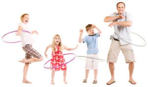 rodzina ćwiczy